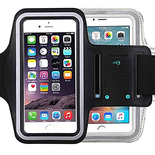 Universal Water Resistant Sports Armband,iBarbe,Bundle with Screen Protector for iPhone 8/7/6/6S Plus,LG G6 G5,Galaxy s8,s8 Plus s7 s6 Edge,Note 5 Sport Exercise Running Pouch Key Holder(Black+Gray)