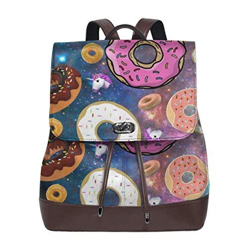 Asa Dutt528251 Galaxy Unicorn Donut Mochila de cuero para mujer Travel Casual Elegante bolso de hombro con cordón