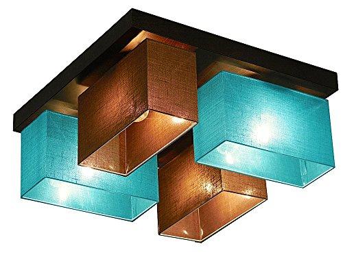 Deckenlampe - Wero Design Vitoria-001 Mix ROT und TüRKIS TRANSPARENT - Deckenleuchte, Leuchte, Lampenschirme, 4-flammig, Holz, Stoff, Chrom