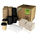GoBeTree 100 Vasos de café Desechables de 240 ml Kraft con PLA para Llevar con Tapa, agitadores de Madera en Funda de Papel para café y servilletas recicladas.
