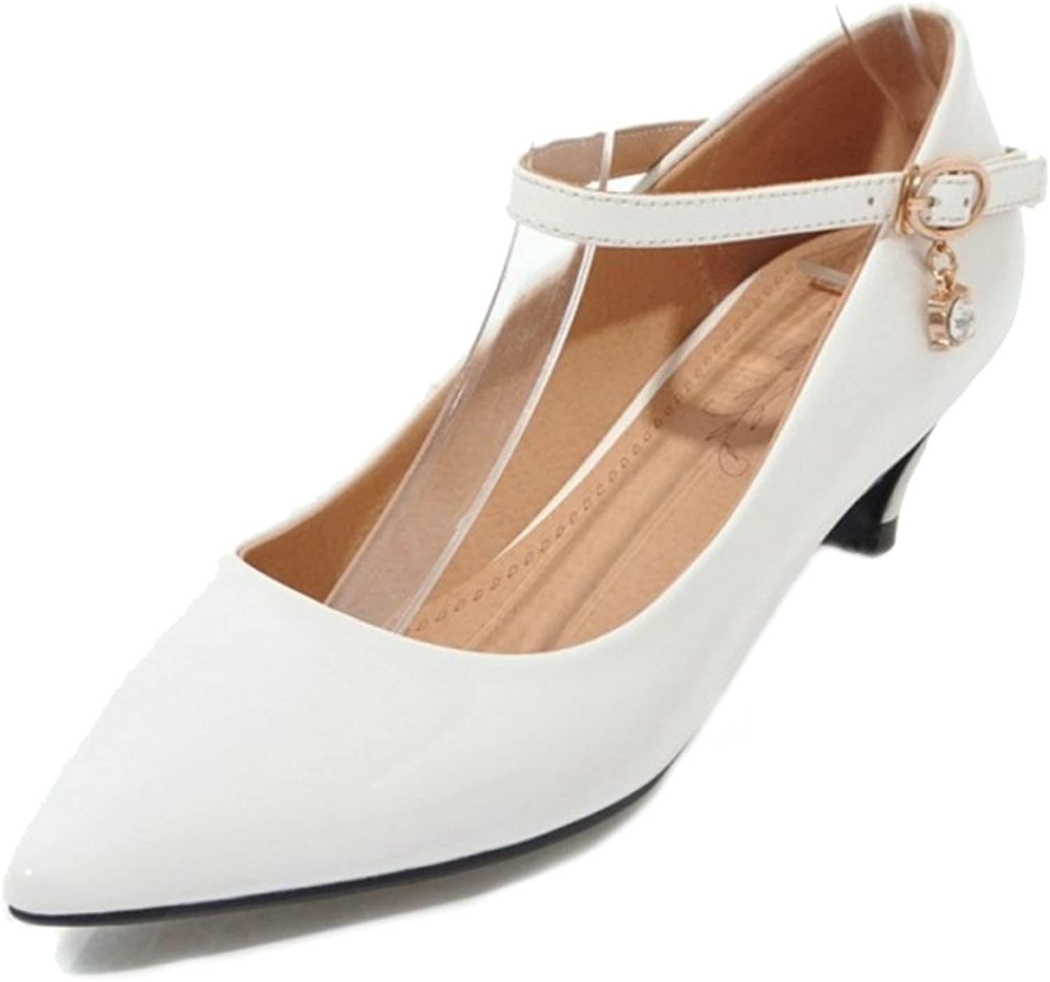 SJJH Women Pumps with Pointed Toe and Kitten Heel Casual shoes