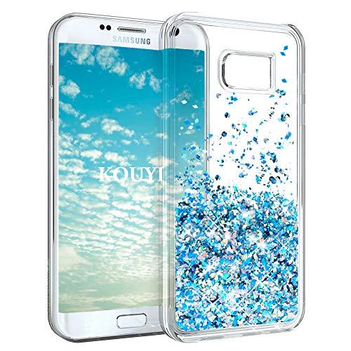 KOUYI Funda Samsung Galaxy S7 Edge, Brillo Liquida Claro 3D Bling Cubierta...