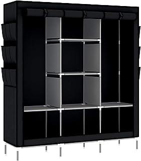 Intirilife Armoire de Rangement Pliable 130x175x45 cm en Noir Corbeau – Penderie Dressing Textile en Tissu Intissé avec Fe...
