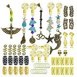 64 Pcs Dreadlock Dreads Accessories Beard Clips Pins Tube Beads Handmade Gemstone Turquoise Jade Locs Hair Extension Jewelry Dolphin Starfish Egpyptian Goddess Skull Decoration Gold