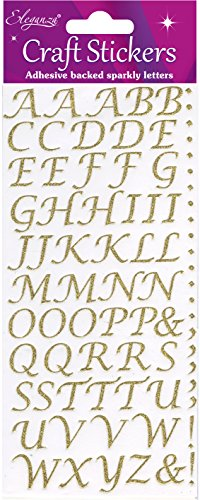Eleganza Alphabet-Set, Synthetisches Material, Gold, 16.5 x 7.6 x 0.2 cm