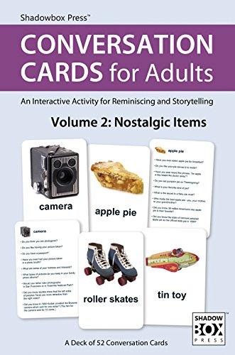 Conversation Cards for Adults, Nostalgic Items  Reminiscence Activity for Seniors / Alzheimer's / Dementia / Memory Loss Patients and Caregivers  52 Cards