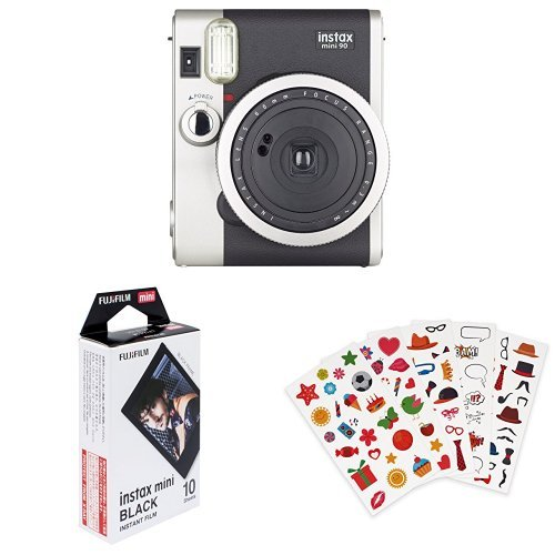Fujifilm - Instax Mini 90 NEO Classic - Appareil Photo à Impression Instantanée - Noir + Lot de 110 autocollants + Color Frame