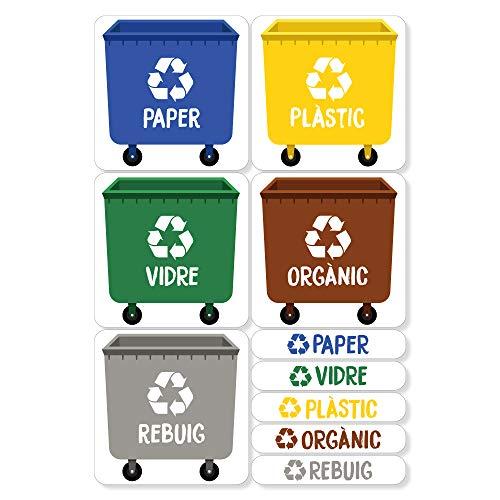 Haberdashery Online 5 Etiquetes Adhesives per al Reciclatge d'Escombraries. Adhesius per a la gestió de residus. Cadascuna de 4,8 x 4,8 cm.