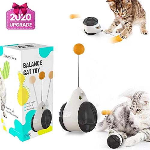 Normals Juguetes Interactivos para Gatos de Interior, Juguetes para Gatos, Juguetes Interactivos Gatos, Leobks Juguete Balanceado para Gato Catnip con Bola Ruedas Automático