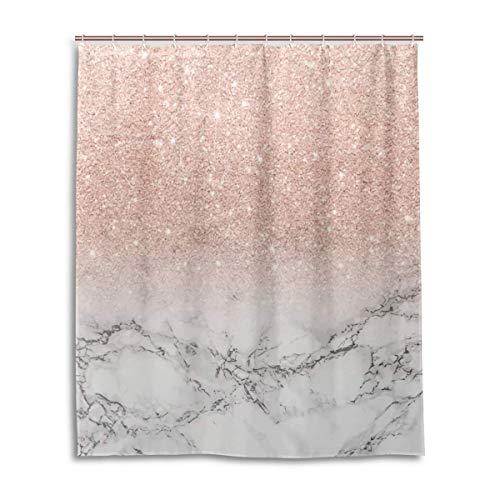 N/A Moderne Kunst-Roségold Pink Glitter Ombre, weißer Marmor, 182,9 x 182,9 cm, mit 12 Haken