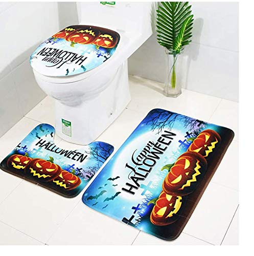 Happy Halloween Bath Mat 3 Piece Set for Bathroom Decor