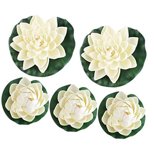 CLISPEED Künstliche Lotusblume Wasserlilie Schwimmend Kunststoff Lotusblüte Seerose für Haus Garten Pool Aquarium Dekoration Ornament Weiß 5 Stück