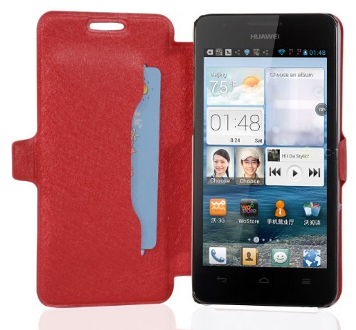 Cadorabo Hülle für Huawei Ascend G520 / G525 - Hülle in ICY ROT – Handyhülle mit Standfunktion & Kartenfach im Ultra Slim Design - Hülle Cover Schutzhülle Etui Tasche Book