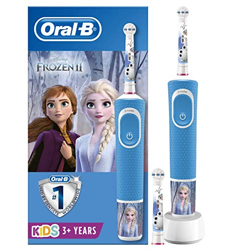 Oral-B Kids - Cepillo Eléctrico Recargable con Tecnología de Braun, 1 Mango de Frozen de Disney (1 o 2), Apto para Niños...