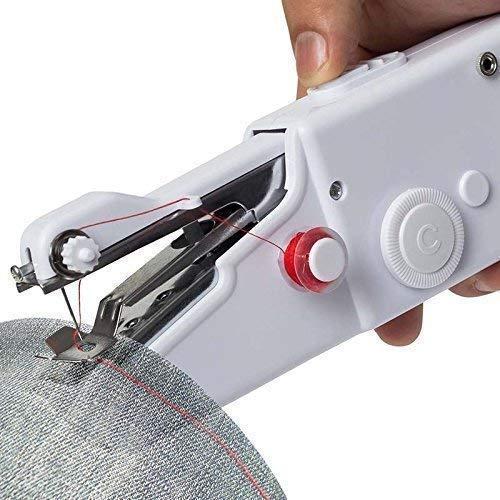 SunRex Electric Craft Mini Lightweight Stitch Handheld Cordless Portable Sewing Machine for Home Tailoring, Hand Machine for Stitching, mini sewing machine (White)
