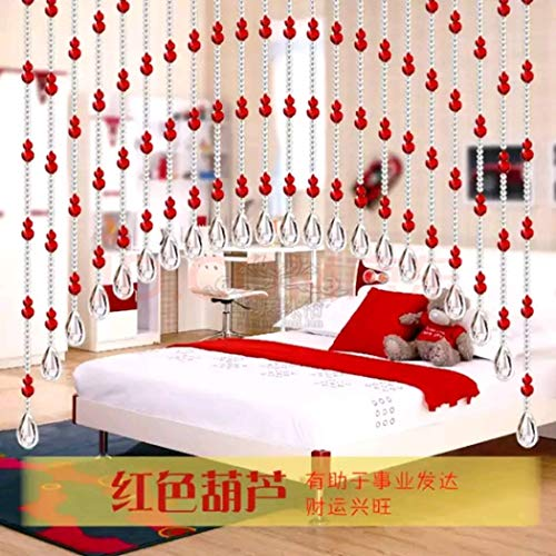 Arched Crystal Curtain, Beaded Doorway Curtains Partition Curtain Living Room Bedroom Arched Easy to Clean Easy Installation Used Home Decorative and Parties (Red --25 Strings)