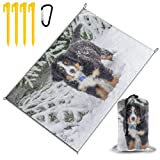 N / A Beach BlanketBernese Mountain Dog Berner Sennenhund Dog Winter Snow  Extra Large 220x145cm Sand Proof Beach Mat Water Resistant Picnic Blanket