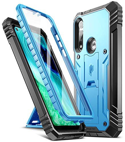 Poetic Revolution Series for Moto G Fast Case, Full-Body Rugged Dual-Layer Shockproof Protective Cover with Kickstand and Built-in-Screen Protector, Blue