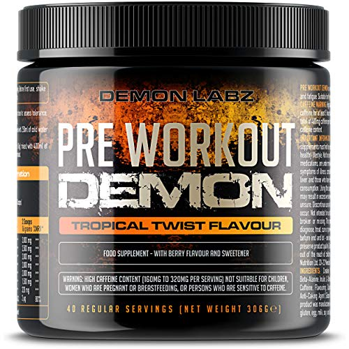 Pre Workout Demon (Tropical Twist Flavour) - Hardcore Pre-Workout Supplement with Creatine, Caffeine, Beta-Alanine and Glutamine (Regular - 306 Grams | 40 Servings)