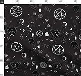 Heidnisch, Pentagramm, Totenkopf, Katze Stoffe -