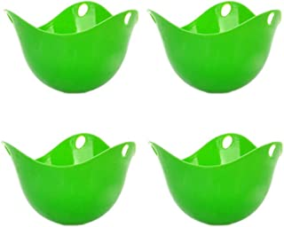 4pcs Egg Poacher Cups poached egg maker Egg Poaching Cups Microwave or Stovetop Egg Cooker Green