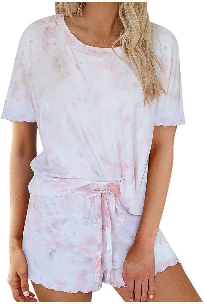 Tie Dye Lounge Sets for Women,2pcs Womens Tie Dye Printed Ruffle Pajama Sets Lounger Sleep Leisure Wear