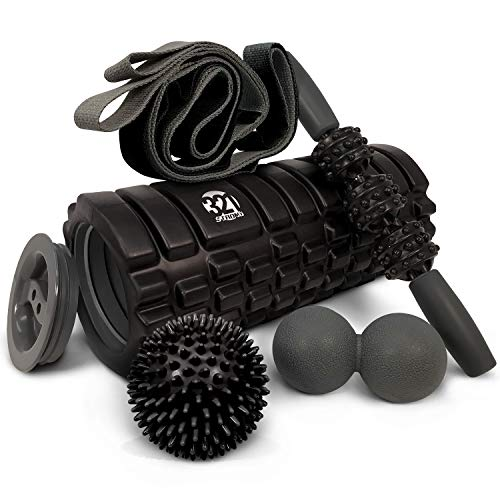 321 STRONG 5 in 1 Foam Roller Set Includes Hollow Core Massage Roller with End Caps, Muscle Roller...