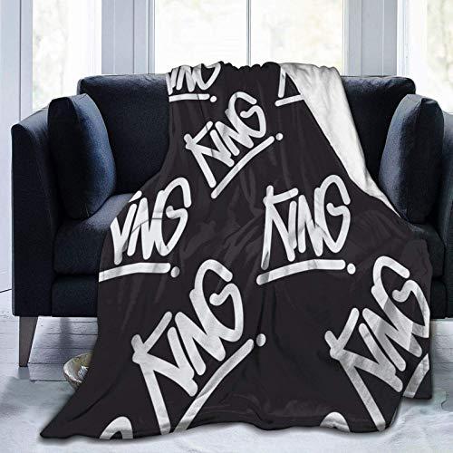 AEMAPE Caligrafía Manuscrita Estilo Graffiti con Texto 'King' Manta cálida para Todas Las Estaciones Manta para Sala de Estar/Dormitorio/sofá