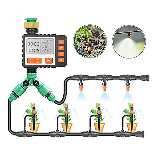 WQJJ Riego Automatico Programador,Temporizador Riego por Goteo Programable,Programador Riego Automatico,Rociador de Agua Plantas para Jardín, IP65 Impermeabile