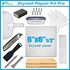 """✅Fix your drywall like professional house builders do with our repair kit designed for home and office ✅The best and most effective way to repair any hole in a drywall - Drywall panel size: 6""""x6""""x1/2"""" ✅Comes with supporting wooden boards, joint compo..."""