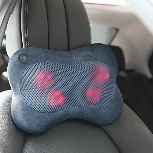 Naipo Massage Pillow Shiatsu Back Neck Massager with Heat for Lower Back Shoulder Massage, Home Car Office Use