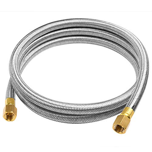 GASPRO 6FT Braided Stainless Propane Hose Assembly with Both 3/8' Female Flare for Gas Grill, RV, Heater, Fire Pit,etc