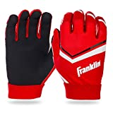 Franklin Sports Youth Football Receiver Gloves - Shoktak Youth Gloves - Kids Football Receiver Gloves - High Grip Football Gloves for Kids - Red - Youth Large