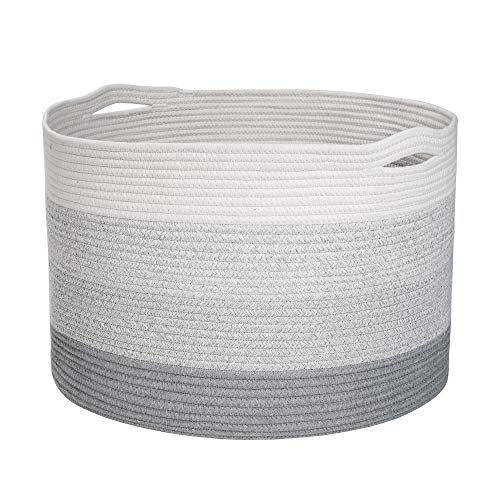 Celebraby Cesta de cuerda de algodón extra grande – 22 x 22 x 14 cestas de almacenamiento tejida para manta, guardería, sala de...
