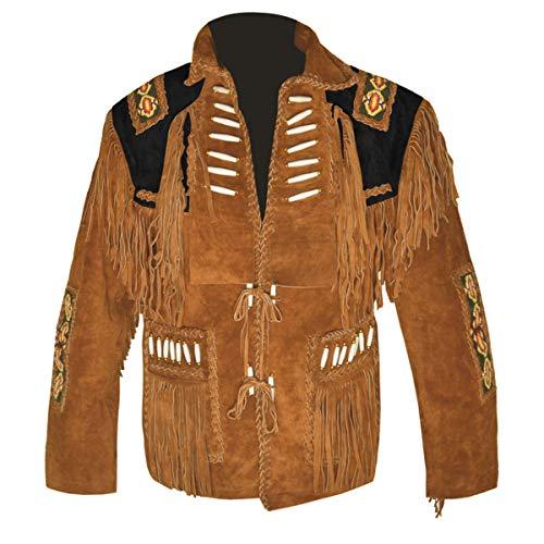 HLS Western Cowboy - Chaqueta de Piel para Hombre, Color marrón y Negro Camel marrón y Negro. XXXX-Large