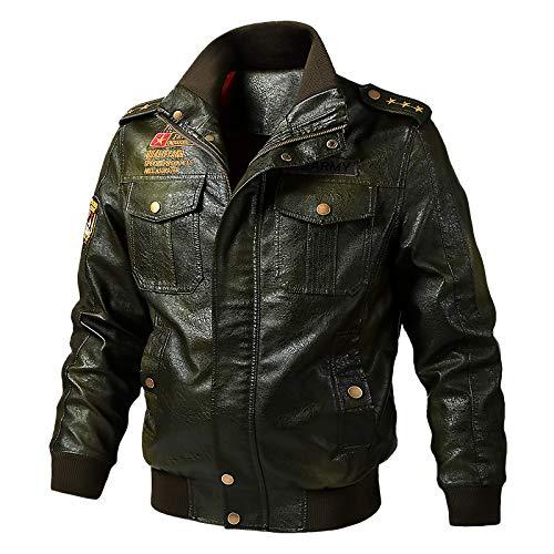 ZXHDP Plus Size Jacke Military Lederjacke Herren Spring Bomberjacke Motorrad Outwear PU Jacke M-6XL