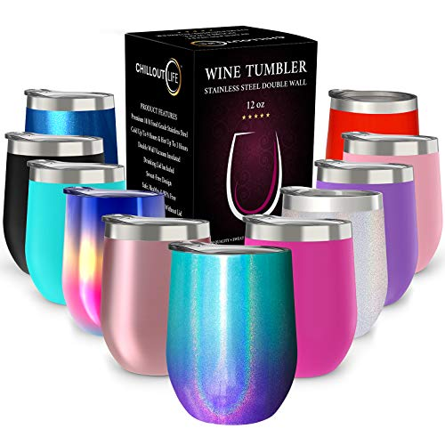 CHILLOUT LIFE 12 oz Stainless Steel Tumbler with...