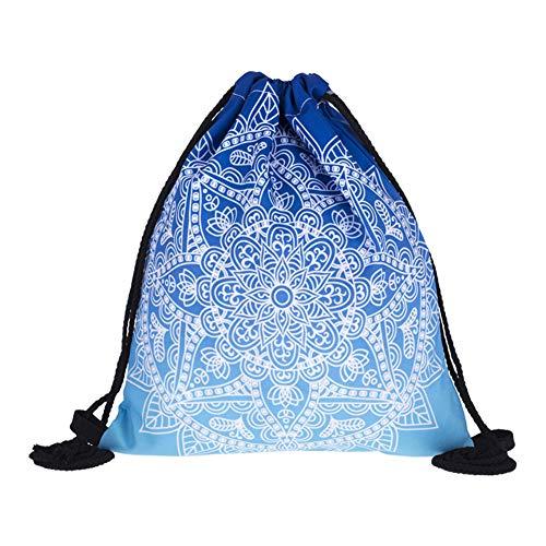 Haodou. Gradient Bolsa de Almacenamiento con cordón para el Hombro, Mochila de poliéster con cordón para la Escuela, Viajes, Compras, PE y Deportes (Azul)