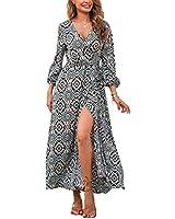 LUCKLISA Women Sexy Side Split Cross Wrap Bohemian Floral Maxi Dress(Black,L)