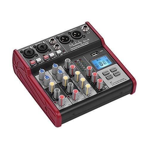 Muslady Mischpult Rührgerät Kompakte Größe 4-Kanal 2-Band EQ Eingebaut 48V Phantomspeisung Unterstützt BT-Verbindung USB MP3-Player zum Aufzeichnung DJ Netzwerk Leben Übertragung Karaoke SL-4