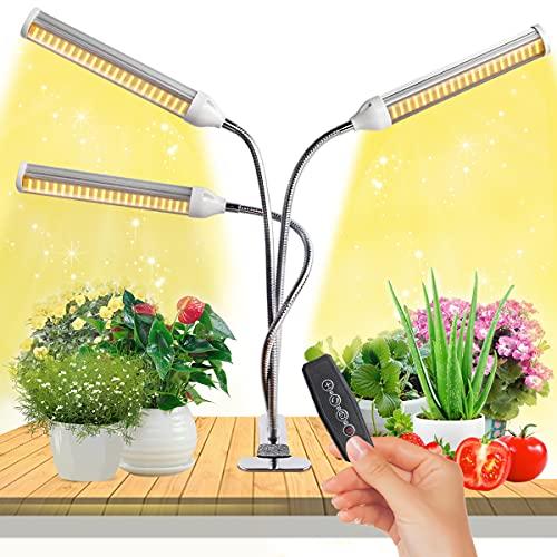 JEVDES 150w Lampada per Piante 315 LEDs 3 Teste Full Spectrum Grow Light Lampada Piante Coltivazione Lampada di Crescita con Timer Automatico 3H/6H/12H e 5 Livelli di Luminosità