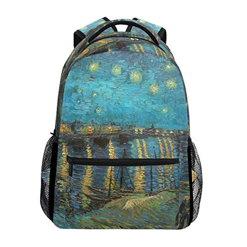 Bookbag Van Gogh Starry Night Over The Rhone Backpack Casual Shoulder Bag Stylish Gift Lightweight Bookbag School College Printed Durable Travel Unique Student