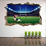 3D Wall Decal Stade de rugby 50x70 cm / 19.7x27.6 pouces Autocollant Amovible Art Mural pour Salon Chambre Maison Stickers.