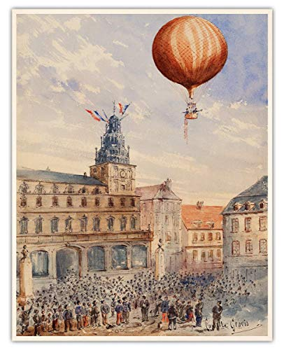 Vintage Hot Air Balloon On A French Town Wall Art Print - 11x14 Unframed Picture For Home, Office, Dorm & Bedroom Decor - Great Gift Idea Under $15