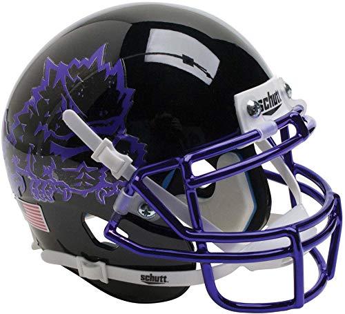 TCU Horned Frogs Schutt Black Chrome Mini Football Helmet - College Mini Helmets