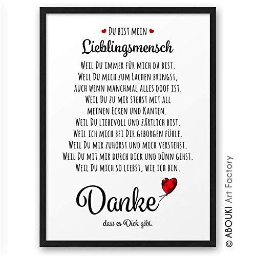 DANKE Liebeserklärung Danksagung ABOUKI Kunstdruck - ungerahmt - Geschenkidee Geschenke Hochzeit Valentinstag Jahrestag Geburtstag Weihnachten für Sie Ihn Frau Mann Paare DIN A4