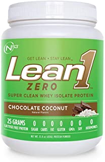 Nutrition 53 Lean 1 Zero - Super Clean Whey Isolate Protein Powder, Natural, Free of Sugar, Lactose, Fat, and Gluten-Free, Chocolate Coconut- 1.69 Pound
