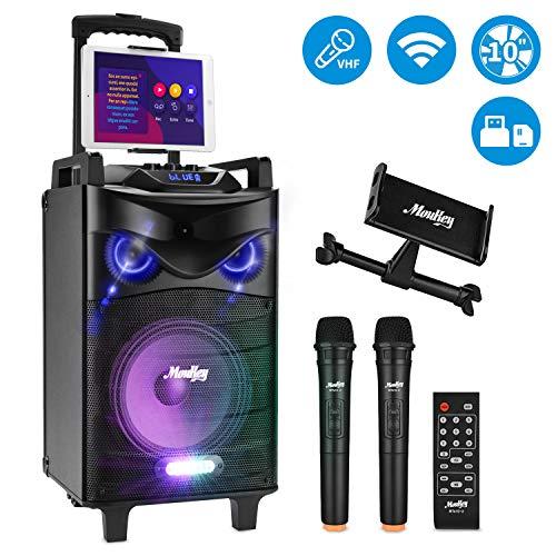 Moukey Karaoke Lautsprecher, Spitzenleistung 520W Karaoke-System, MTs10-2 PA-Stereoanlage mit DJ Lights, Dual VHF Mikrofon, Tablet Unterstützung Aufnahmefähigkeit Handgriff MP3/USB/SD/FM-Radio 10 Zoll