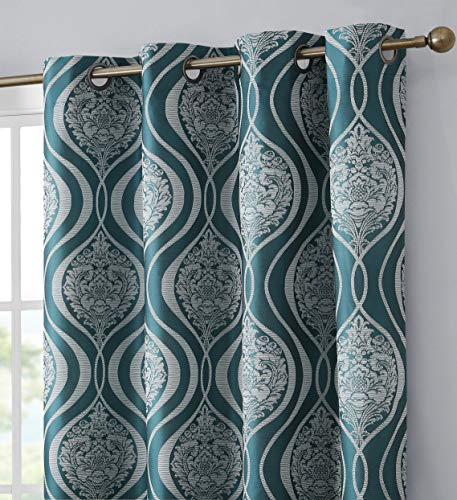 HLC.ME Montero Damask 100% Complete Blackout Thermal Insulated Energy Efficient Heat/Cold Blocking Grommet Short Curtain Drapery Panels for Living Room, 2 Panels (52 W x 63 L, Teal Blue)