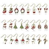 fanshiontide 12 Piezas Pendientes de Navidad, Pendientes Sin Níquel Decoraciones de Navidad Pendientes Set